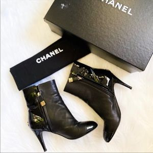 CHANEL Leather Ankle Heeled Booties BLACK Size 5